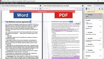 How to compare text in a scan with text in a Word document