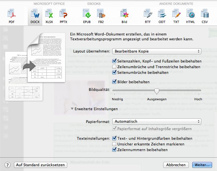 Speichern Sie die Dokumente im gewünschten Format oder für Ihre bevorzugte Anwendung